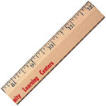12 Inch Clear Lacquer Beveled Wood Rulers